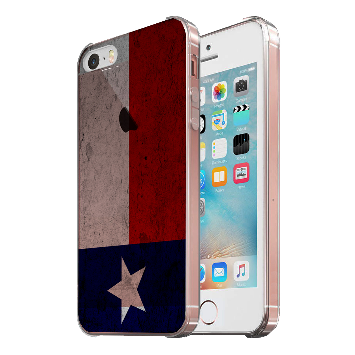 KuzmarK Clear Cover Case fits iPhone SE & iPhone 5 - Texas Flag Concrete Wall