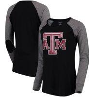 Texas A&M Aggies Women's Preppy Elbow Patch Slub Long Sleeve T-Shirt - Black/Gray