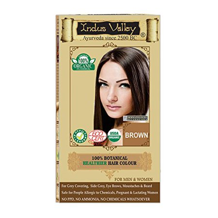 Indus Valley 100% Organic & Chemical Free Botanical Hair Colour For Brown Hairs (One Touch Pack Hair Color Brown