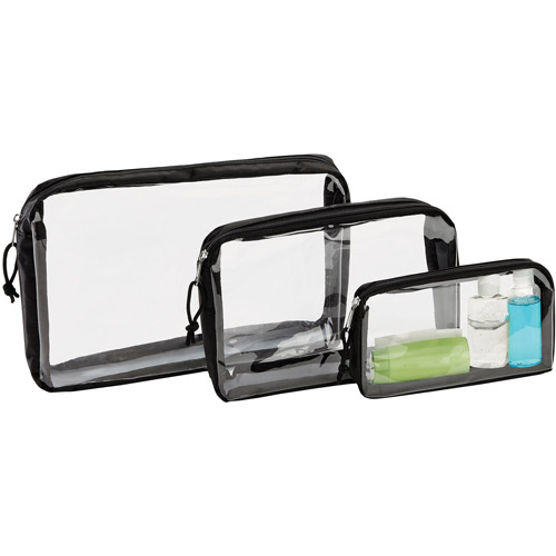 G-Force 3-Piece Black-Clear Travel Organizer Bags