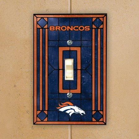 Denver Broncos Navy Blue Art-Glass Switch Plate Cover - No Size ()