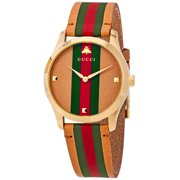 Gucci Men's G-Timeless 126 Three-Toned Leather 38mm Watches