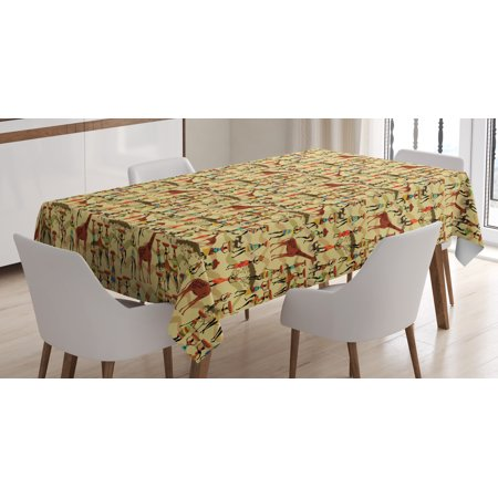 Africa Tablecloth, Woman Silhouette with Colorful Clothes and Pots Deer Oriental Culture Inspirations, Rectangular Table Cover for Dining Room Kitchen, 52 X 70 Inches, Multicolor, by - Inspiration Spring Pot