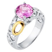 Boston Bay Diamonds  18k Yellow Gold & 925 Sterling Silver 8mm Round Created Pink Sapphire Ring 7
