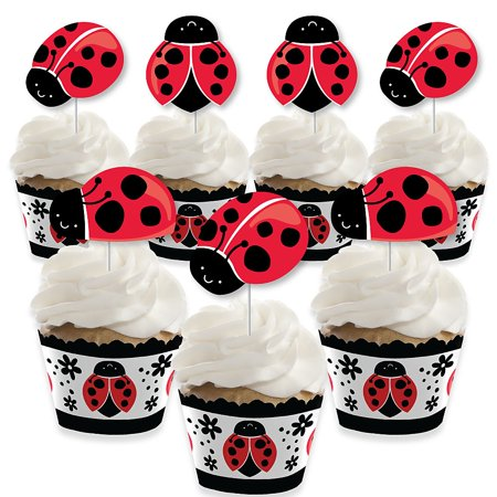 Ladybug Baby Shower Ideas (Happy Little Ladybug - Cupcake Decoration - Baby Shower or Birthday Party Cupcake Wrappers and Treat Picks Kit - Set of)
