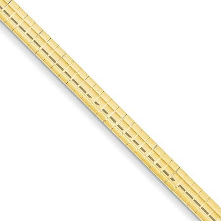 14K Yellow Gold 4 MM Domed Omega Bracelet, 7