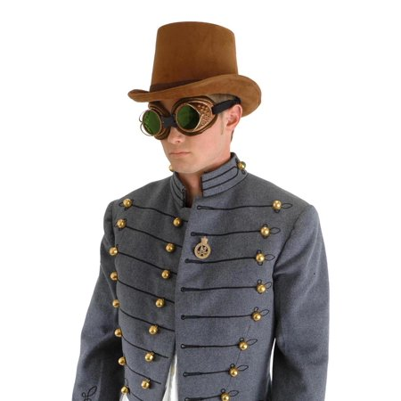 Steampunk Coachman Brown Suede Costume Top Hat - Coachman Top Hat