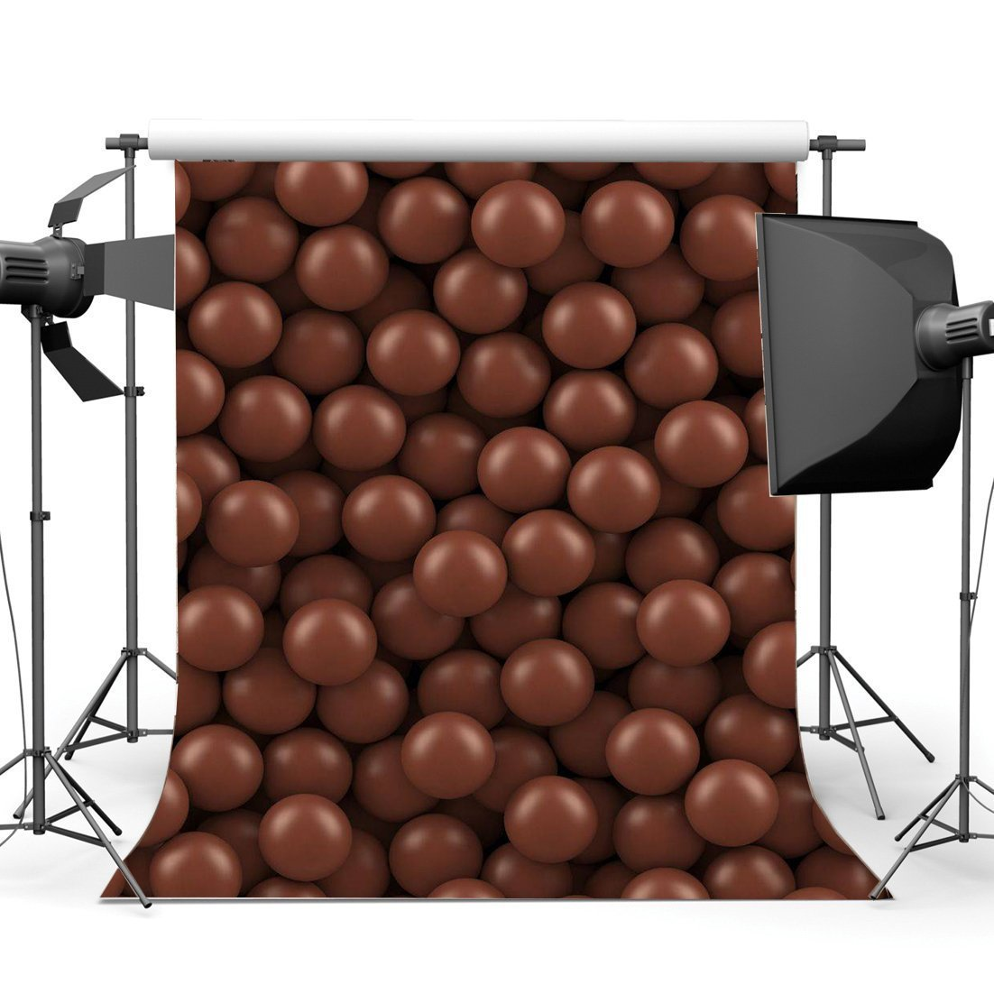 HelloDecor Polyster 5x7ft Chocolate Backdrop Valentine's Day Candy Abstract Wallpaper Romantic Wedding Photography Background Baby Shower Girls Boys Happy First Birthday Decoration Photo Studio Props