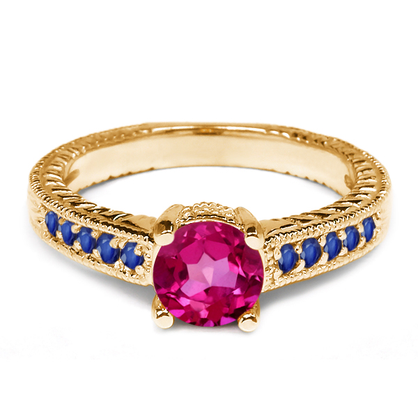 1.20 Ct Round Pink Mystic Topaz Blue Sapphire 925 Yellow Gold Plated Silver Ring by