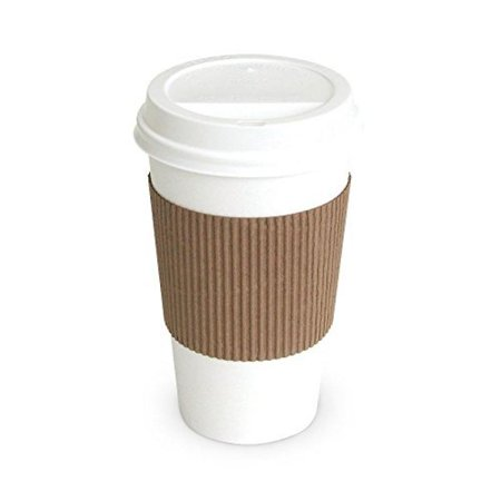 Brown Paper Cups (Solo White Paper Hot Cups with Lids and Sleeves, 12 oz, 100)