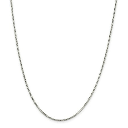 Sterling Silver Round Box Clasp (Solid 925 Sterling Silver 1.75mm Round Box Chain Necklace 16