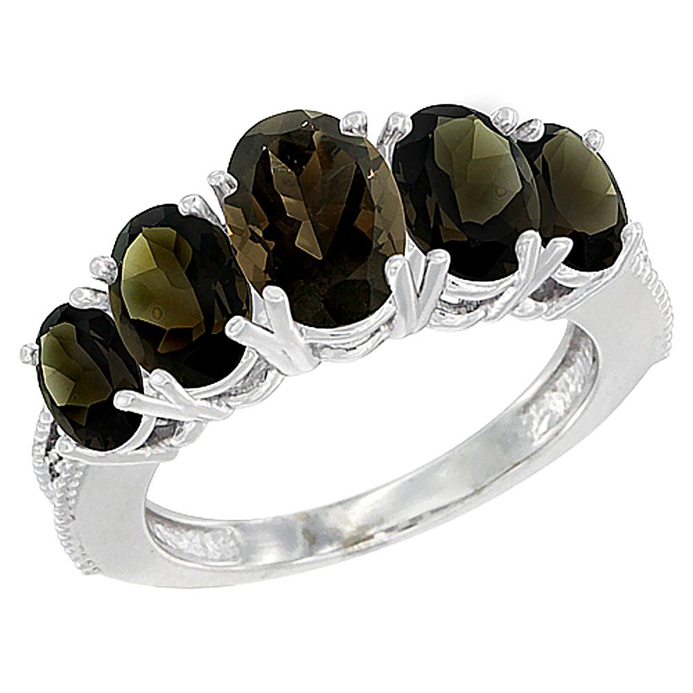 10K White Gold Natural Smoky Topaz Ring 5-Stone Oval Diamond Accent, sizes 5 - 10