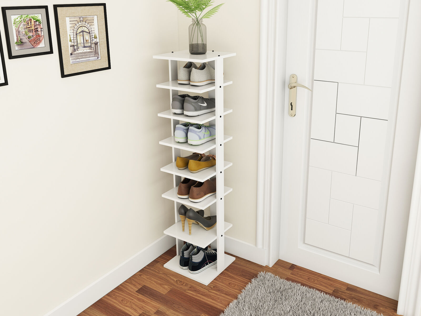 Costway Wooden Shoes Storage Stand 7 Tiers Shoe Rack Organizer Multi Shoe  Rack Shoebox