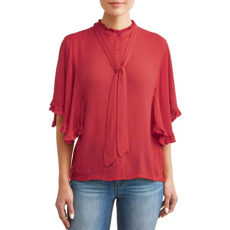Womens Ruffle Trim (Women's Ruffle Trim Top )