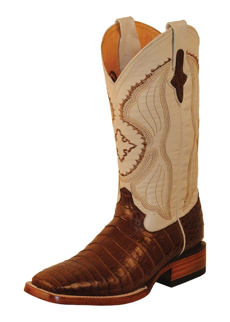 Ferrini Western Boots Mens Belly Caiman Croc Chocolate Pearl 12493-09 by Ferrini