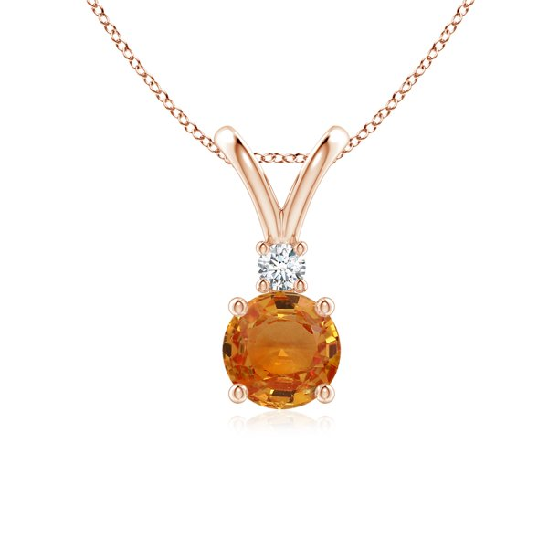 Cyber Monday Sale - Round Orange Sapphire Solitaire V-Bale Pendant with Diamond (6mm Orange Sapphire) - SP0155OSD-RG-AAA-6