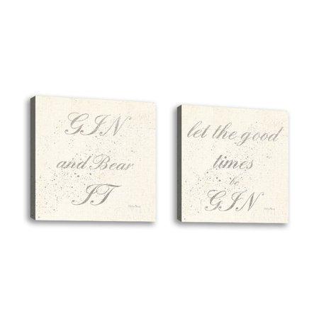 Set of 2 - Shot Fetish Quotes IX Light Silver - Contemporary