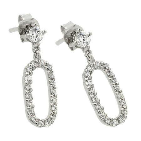 Sterling Silver Cubic Zirconia Dangle - Mrs Earrings