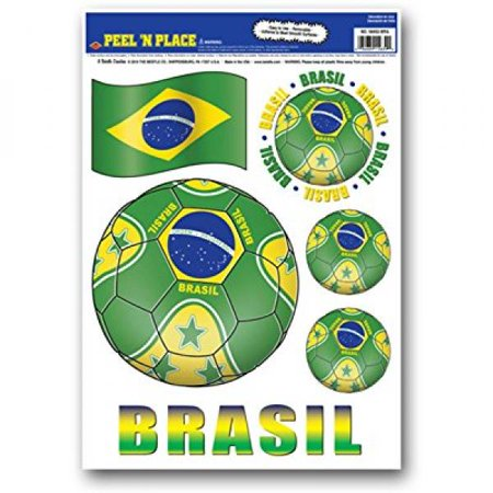 Beistle Peel 'N Place Stickers, 12-Inch by 17-Inch, Brazil (Brasil Sticker)
