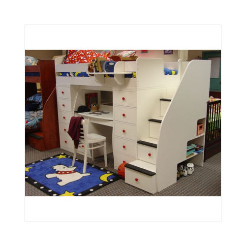 Berg Furniture Sierra Space Saver Loft Twin Bed W Chests Desk