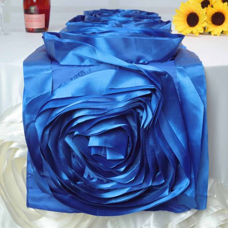 BalsaCircle 13 x 104-Inch Satin Large Raised Roses Table Runner Table Linens Wedding Party Dining Catering Events Decorations ()
