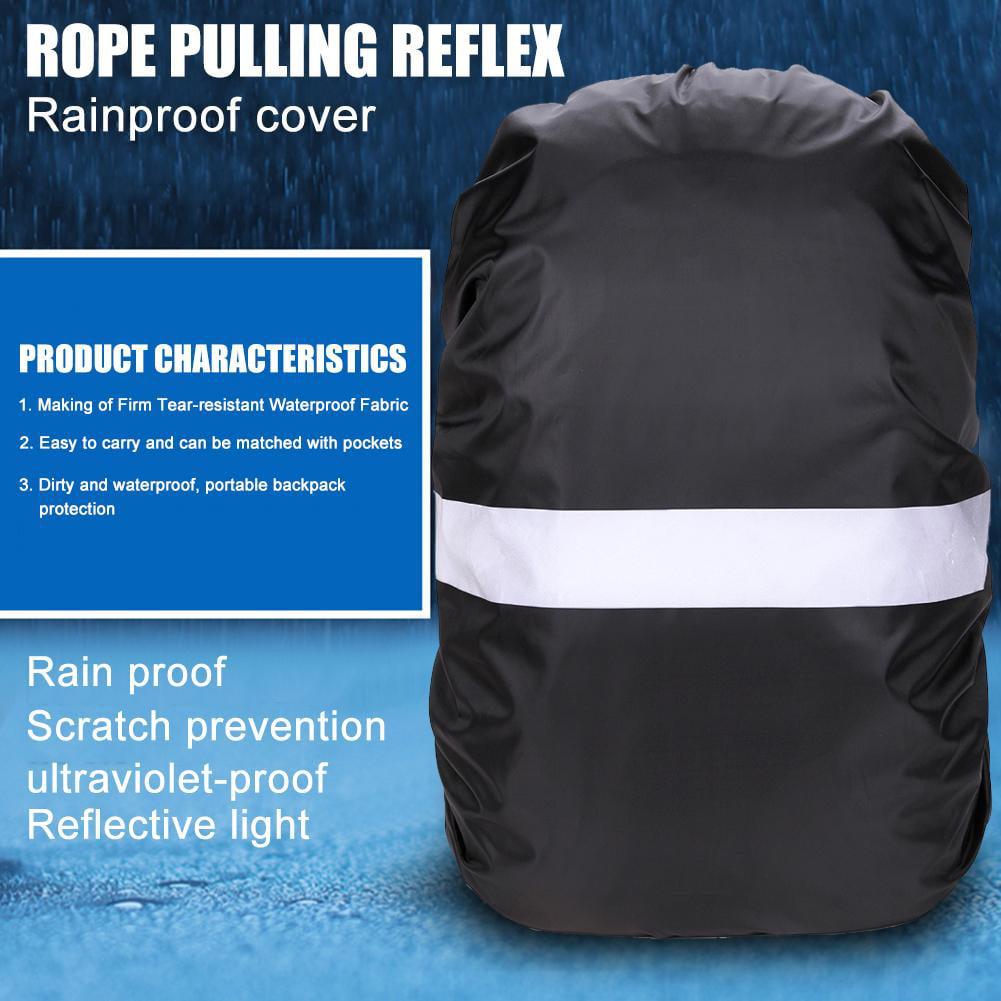 Black Adjustable Waterproof Dustproof Backpack Reflective Dust Rain Cover