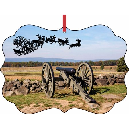 Santa Klaus and Sleigh Riding Over Gettysburg National Military Park Double Sided Elegant Aluminum Glossy Christmas Ornament Tree Decoration - Unique Modern Novelty Tree Décor - Park Sleigh