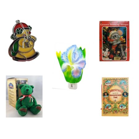 Christmas Fun Gift Bundle [5 Piece] - Russ Berrie Stained Glass Snowman Santa Ornament - Vintage Designed Stocking Hanger Mouse - Flower Nightlight Iris - Limited Treasures  Edition Green Candycane Iris Stained Glass