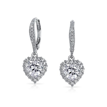 Bridal Heart Cubic Zirconia Prom Leverback Dangle Earrings Pave CZ Halo Crown Silver Plated Brass - Heart Crown Dangle