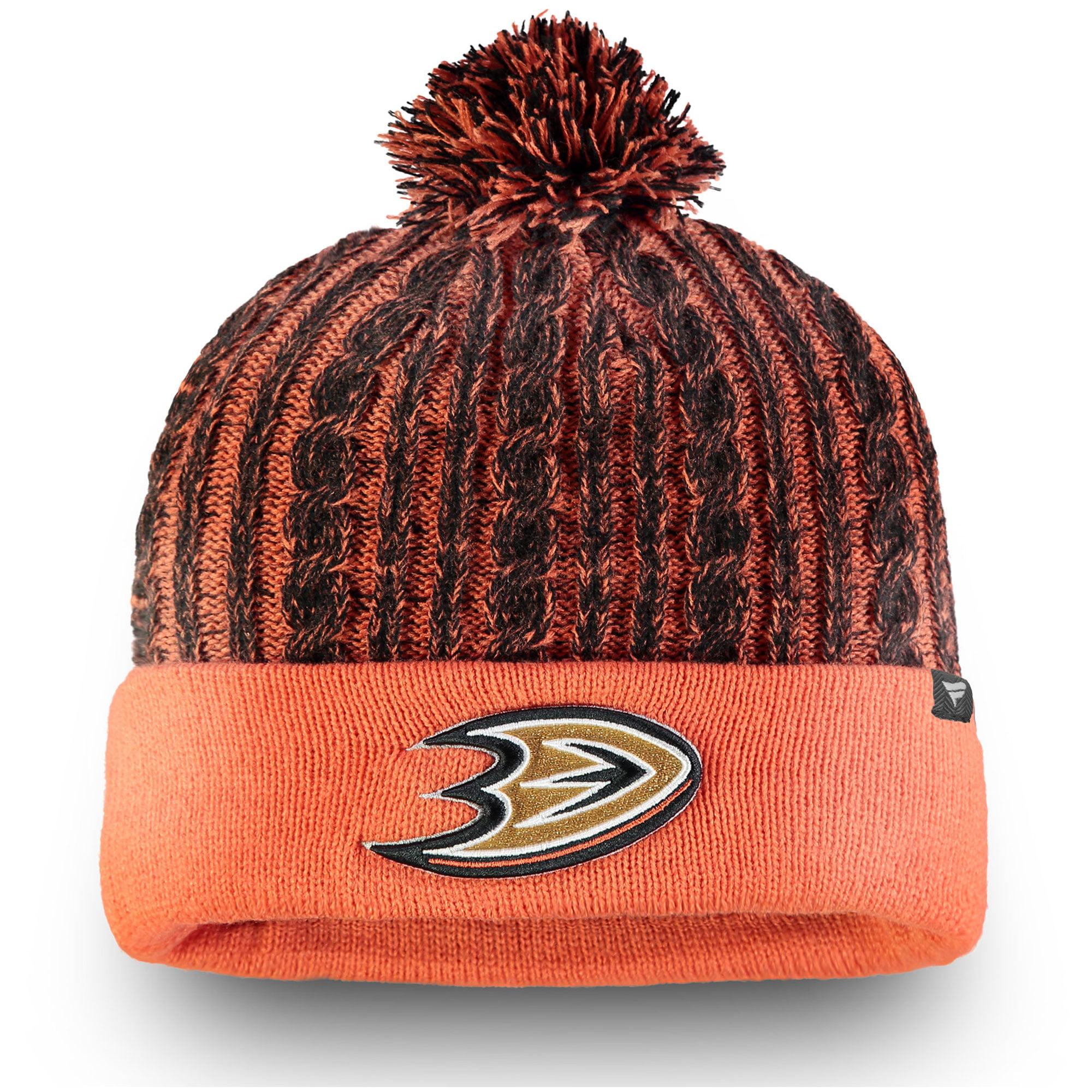 Anaheim Ducks Fanatics Branded Women's Iconic Ace Cuffed Knit Hat with Pom - Orange - OSFA