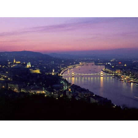 Evening View Over City and River Danube, Chain Bridge and Parliament, Hungary Print Wall Art By Gavin Hellier