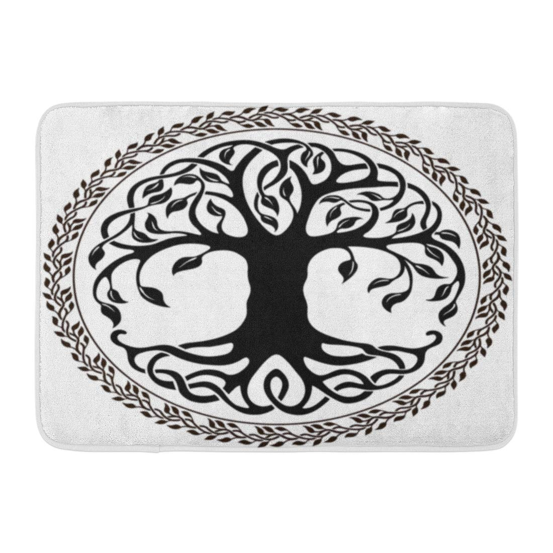 GODPOK Leaves Black Branches Celtic Tree of Life with Floral Round Border White Knot Nature Rug Doormat Bath Mat 23.6x15.7 inch