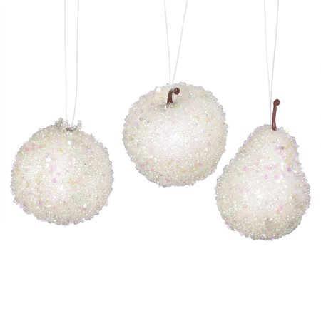 Set of 3 White Beaded Frozen and Glittered Apple Pear and Pomegranate Fruit Christmas Ornaments - Christmas Pomegranates