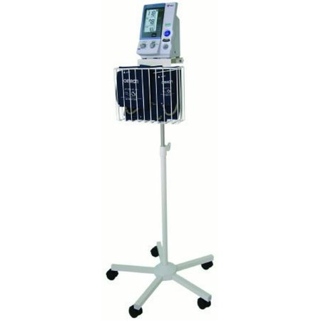 Omron Intellisense Blood Pressure Monitor Cart Stainless Steel 22 Inch 1 Shelf   1 Basket Silver    1 Count