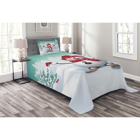 Christmas Bedspread Set, Snow Covered Mountain with Fir Trees and Skiing Snowman Fun Holiday Activity, Decorative Quilted Coverlet Set with Pillow Shams Included, Teal Red White, by Ambesonne ()