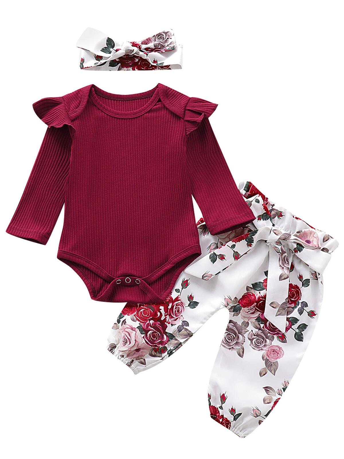 US Newborn Baby Girl Romper Bodysuit Pants Trousers Headband Outfit Clothes Set