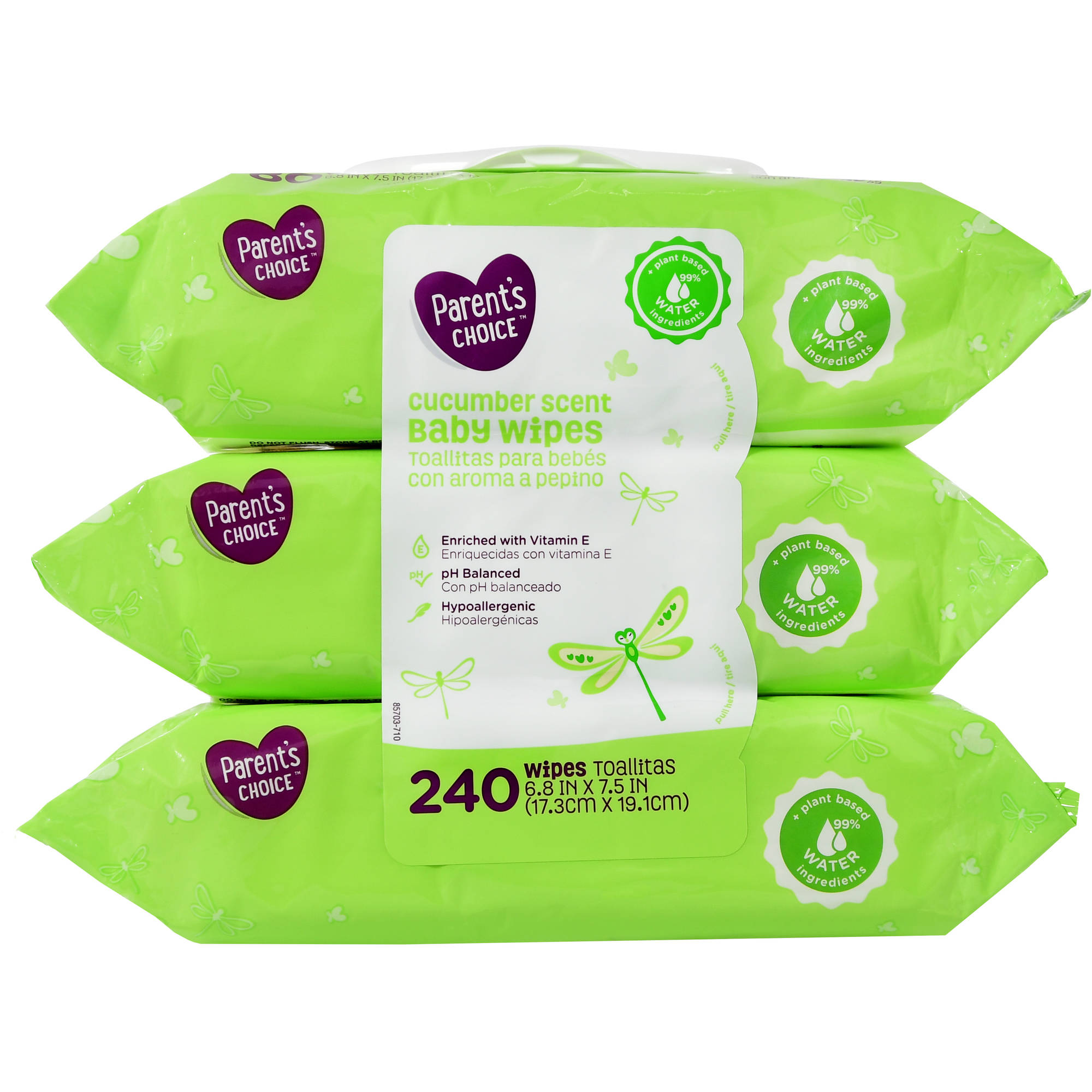 Parent's Choice Baby Wipes, Cucumber Scent, 3 packs of 80 (240 ct)