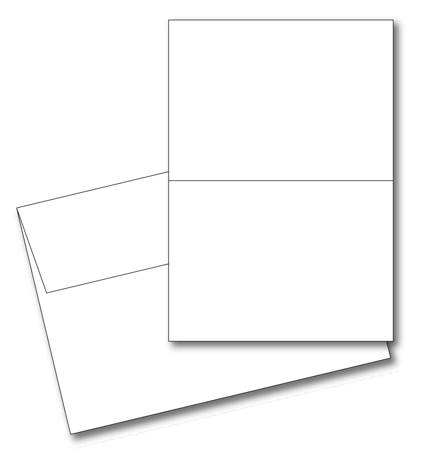 5 X 7 Heavyweight Blank White Greeting Card Sets 100 Cards