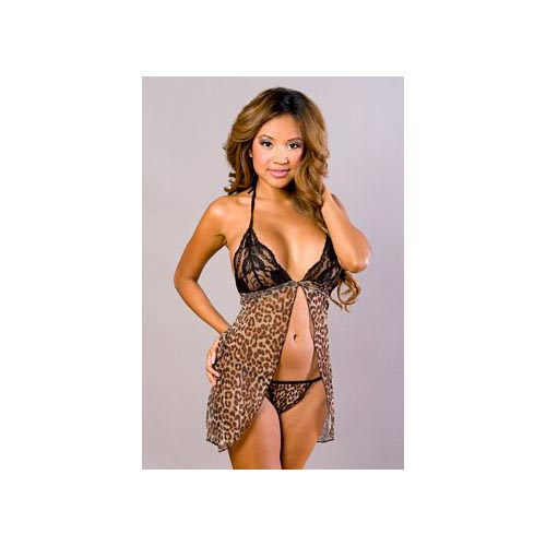 Velvet Kitten Open Front Halter Lacey Leopard Babydoll and G-String 3060, One Size Fits All
