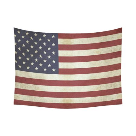 Cotton Vintage Tapestry (GCKG Vintage Retro American USA Flag Tapestry Wall Hanging July 4th Independence Day Wall Decor Art Cotton Linen for Home Decoration 80 x 60 Inches)