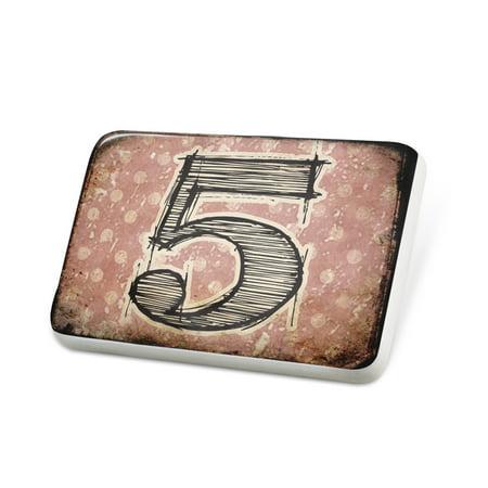 Porcelein Pin 5 Vintage characters, letter old rose Lapel Badge –