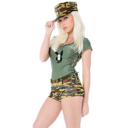 womens playboy boot camp babe adult halloween costume size s 6 8 - Halloween Costumes Playboy