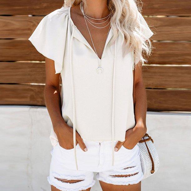 Anself Women Summer Blouse Solid V Neck Ruffle Short Sleeve Self Tie Bandage High Low Hem Casual Loose Tops T Shirt Walmart Com Walmart Com