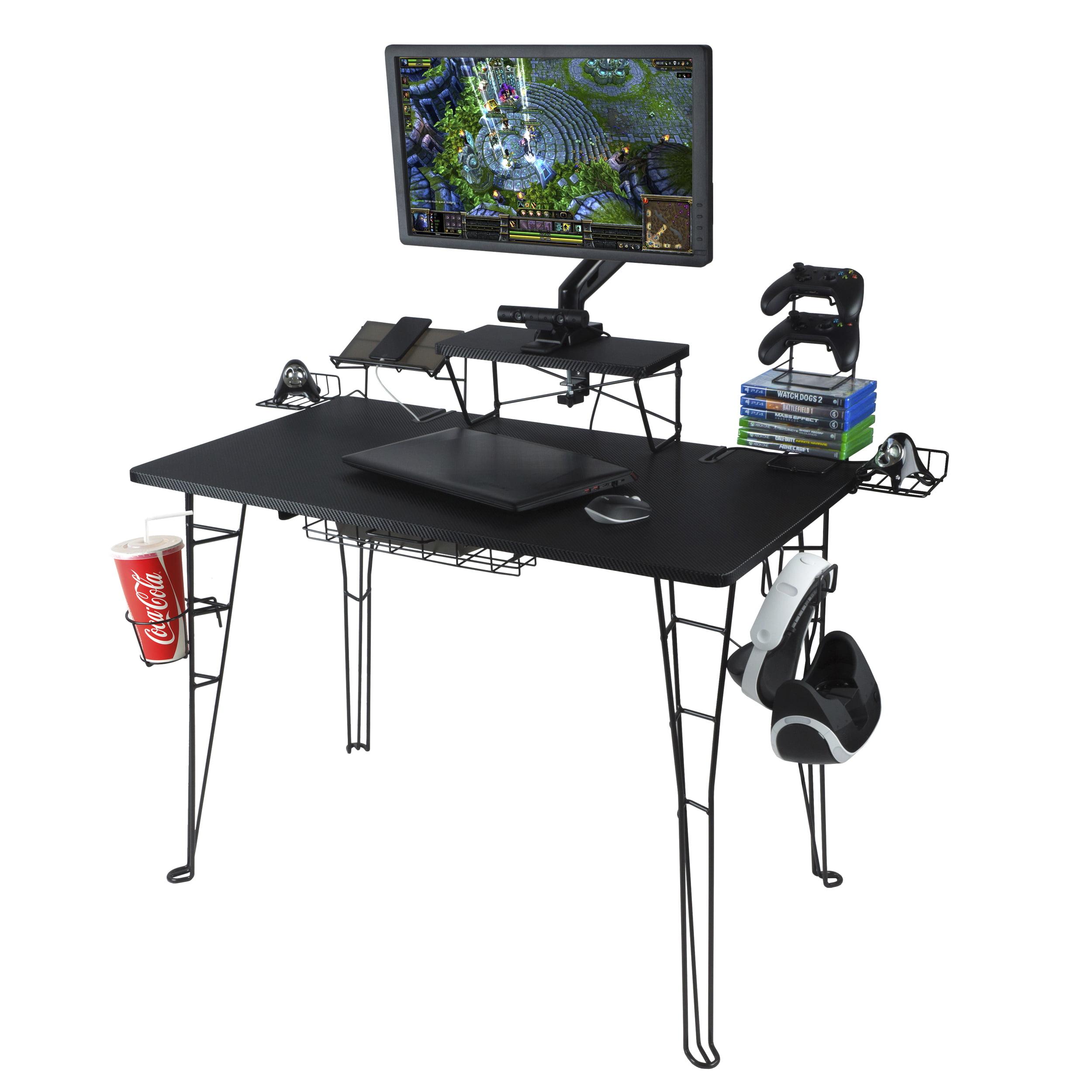 Atlantic Original Gaming Desk With 32 Monitor Stand Charging Station And Gaming Storage Black Carbon Fiber Walmart Com Walmart Com