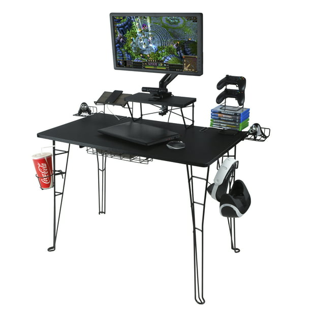 "Atlantic Original Gaming Desk with 32"" Monitor Stand, Charging Station and Gaming Storage, Black Carbon Fiber"