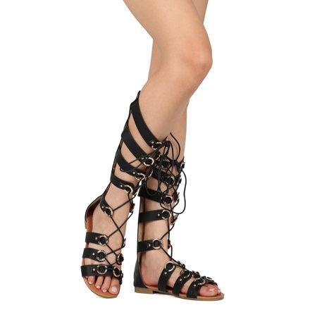 New Sandal Women Pu Toe Gladiator Open Lace Up Knee High Alrisyk htdsQrC