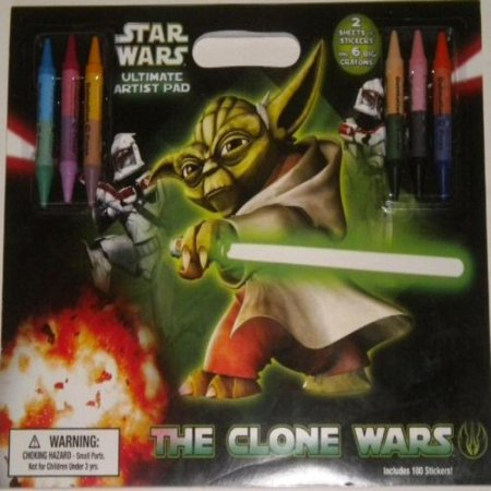 Ultimate Artist Pad Star Wars Clone Wars Stickers 6 Double Sided Crayons 12 (Six Sided Star)