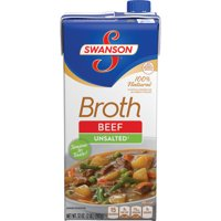 (2 pack) Swanson 100% Natural Unsalted Beef Broth, 32 oz.