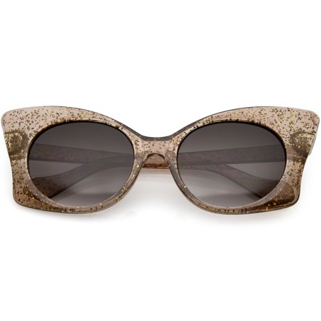 Translucent Oversize Glitter Butterfly Sunglasses Round Lens 54mm (Brown / (Translucent Round Sunglasses)