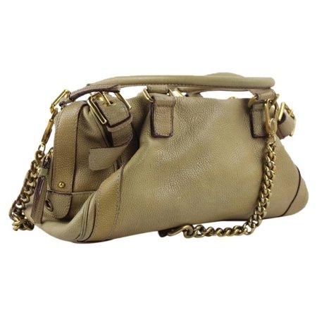 Dolce & Gabbana Beige Brown Gold Chain Dgml1 Tan Leather Satchel